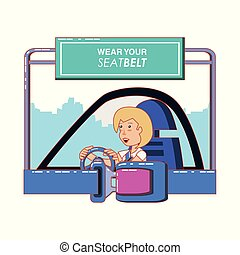 person driving with wear your seat belt label