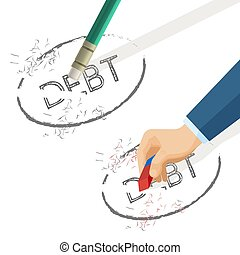 Person erase word debt written on paper, vector illustration...