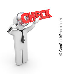 Person examines Check