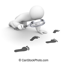 Person examines footprints - Business concept. Isolated on...