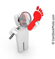 Person examines footprints
