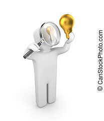 Person examines lightbulb. New idea metaphor