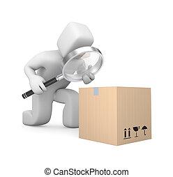 Person examines parcel