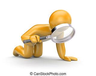 Person examines something