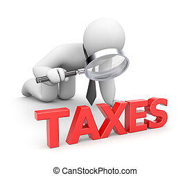 Person examines taxes - Business concept. Isolated on white