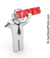 Person examines taxes