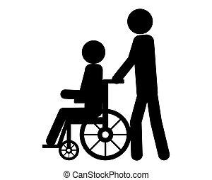 person, förbrukare, puffar, hjul stol