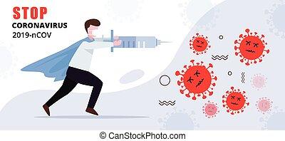 Person fighting with virus, Coronavirus cure concept illustration