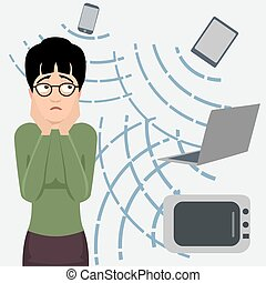 person frightened by electromagnetic radiation cartoon -...