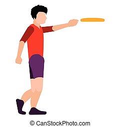 person, frisbee, freigestellt, spielende