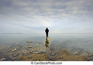 Person Gazing over the Chesapeake Bay - A person standing on...