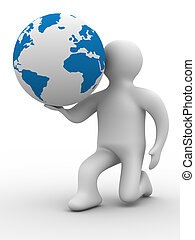 person give a globe. 3D image. Isolated illustrations