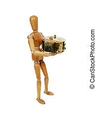 Person giving a golden box