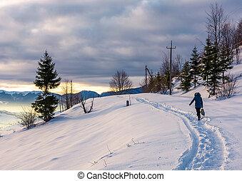 person go through snowy rural hillside - person go through...