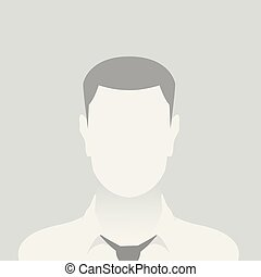 Person gray photo placeholder man in a shirt on gray...