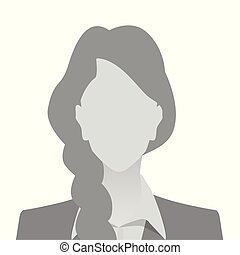 Person gray photo placeholder woman in costume on white...