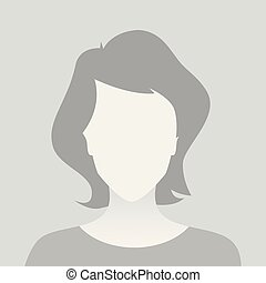 Person gray photo placeholder woman in T-shirt on gray...