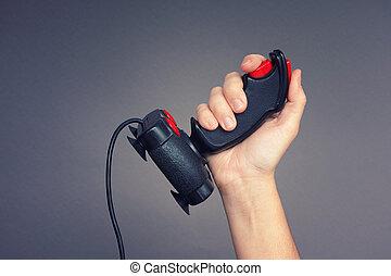 person, hält, retro, steuerknüppel, in, sie, hand