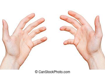 person, hände, ansicht, zuerst, punkt