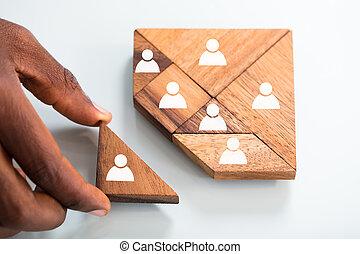 person, hånd, færdiggører, tangram, opgave