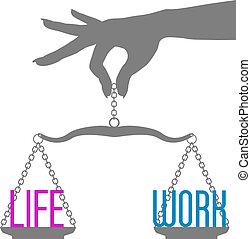 person, hand, gleichgewicht, leben, arbeit, auf, waage