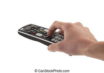 Close-up of a person hand holding remote control on white background