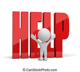 person, hjælp, beder om, 3