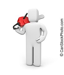 Person hold chainsaw - White 3D character holding a chainsaw