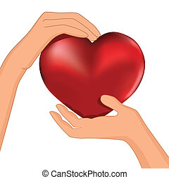 Person hold red heart in hand vector. Protection...