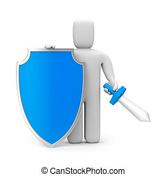 Person hold shield and sword - Security concept. Isolated on...
