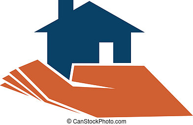 Person holding a house in their hand depicting home...