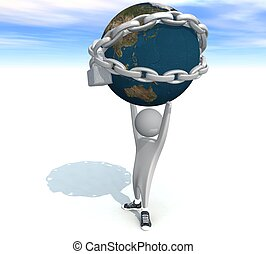 person holding a land in chains