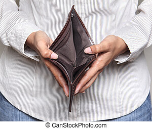 Person holding an empty wallet - showing bankcruptcy