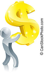Person holding dollar sign concept