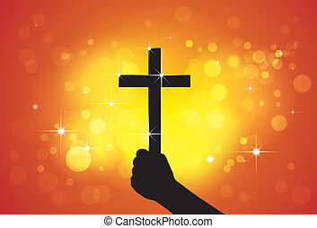 Person holding holy cross, christian religious symbol, in hand(fist) - concept of a devout faithful christian worshiping Jesus Christ with yellow and orange background of stars and circles