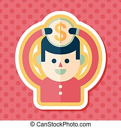 person holding money flat icon with long shadow, eps10