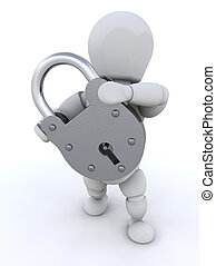 Person holding padlock