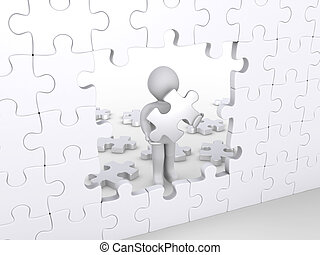 Person holding puzzle piece about to complete vertical puzzle
