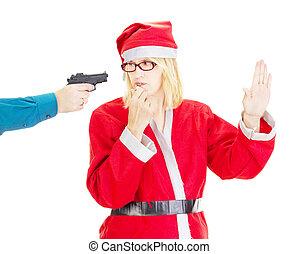 Person holding santa at gunpoint