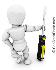 Person holding screwdriver - 3D render of someone holding a...