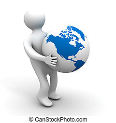 person holds a globe. 3D image. Isolated illustrations