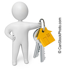 person holds the keys to the house, on a white background,...