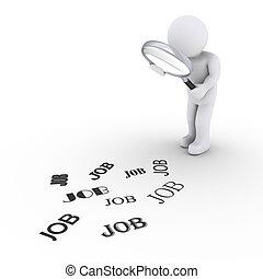 person, hos, forstørrelsesapparat, kigge arbejde i