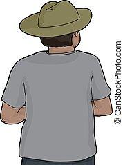 person, hut, grün, freigestellt, zurück