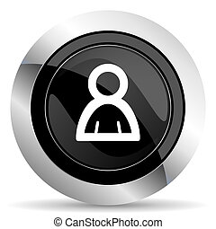 person icon, black chrome button