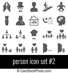 Person. Icon set 2. Gray icons on white background.