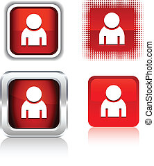 Person icons. - Person square buttons. Vector illustration.