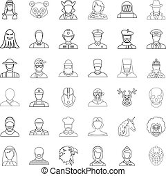 Person icons set, outline style