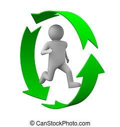 person, image, isoleret, baggrund., løb, hvid, 3