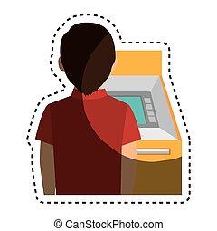 person in atm icon vector illustration design